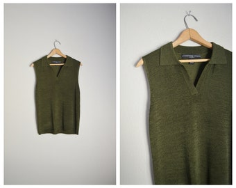 11f29aa9ce8aa9 vintage 80s 90s olive green knit collared sleeveless minimal soft preppy  cool golf summer fall top shirt blouse -- womens small
