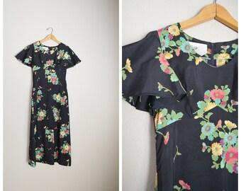 a4409f4bc4 vintage black floral maxi 70s flutter sleeve long Hawaiian dress -- womens  xsmall