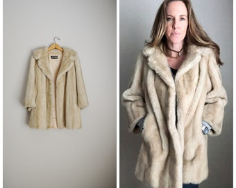 d59fe9ba0 blonde faux fur 80s YVES SAINT LAURENT jacket throw ysl coat -- womens  medium large -- vegan fur thick fur