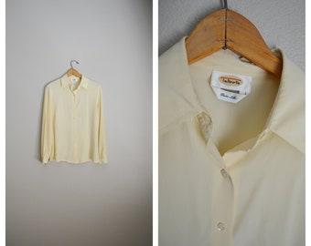 7acc9ffdfe4d3c vintage 90s pale ivory yellow SILK blouse button down top -- womens medium