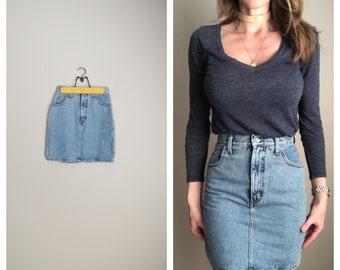 345017c7cf5 vintage GUESS usa made jean 80s denim mini summer high waisted skirt --  womens xxsmall small -- 24 25 waist