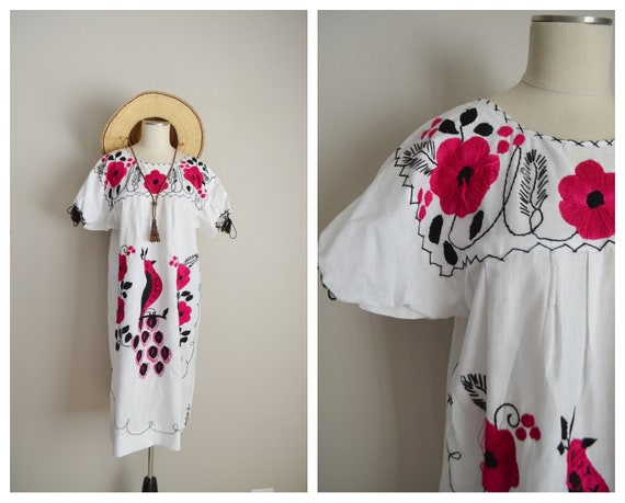 embroidered ethnic peasant peacock dress - large