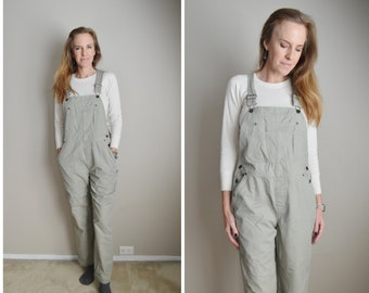 khaki tan overalls  /womens medium tan overall pants /y2k cherokee tan khaki bib overalls