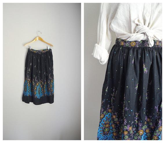 50s black novelty print skirt - small