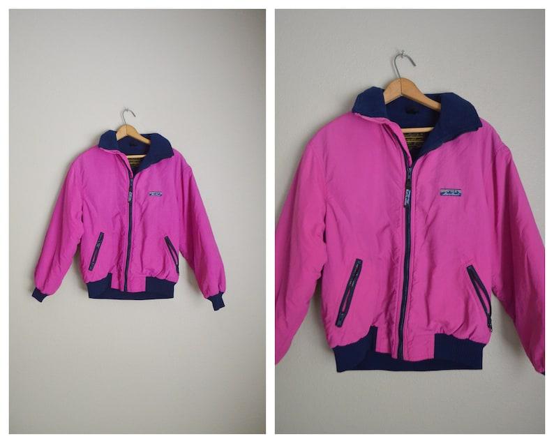 2e8857bce vintage 80s nylon hot pink neon eddie bauer lined windbreaker jacket --  womens medium -- stranger things womens jacket