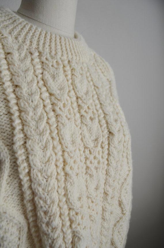 ivory wool aran irish sweater- large - image 5