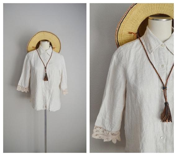 linen and lace blouse / vintage tan linen blouse/… - image 1