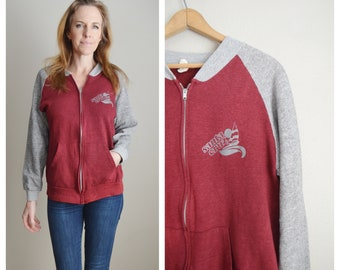 santa cruz sweatshirt / vintage 70s 80s Santa Cruz zip surf skate - sweatshirt - mens small womens medium
