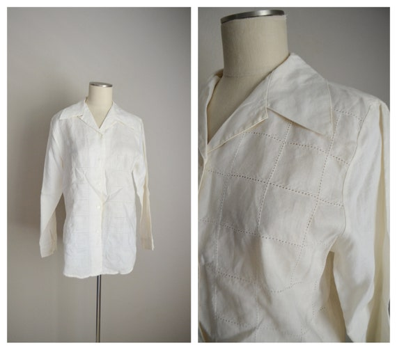 ivory linen tunic top / vintage 80s long ivory of… - image 1