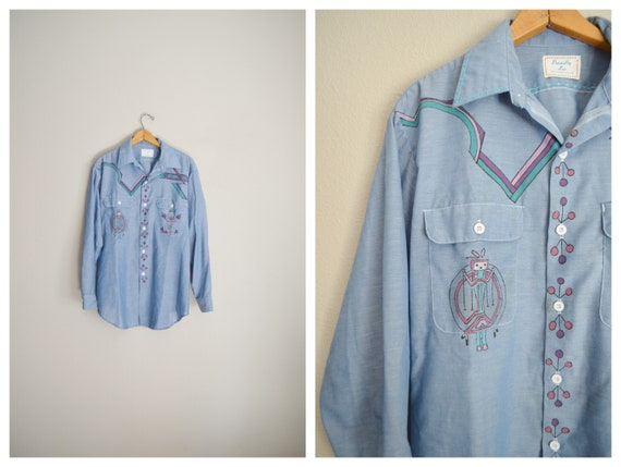 selvedge hand painted shirt - large