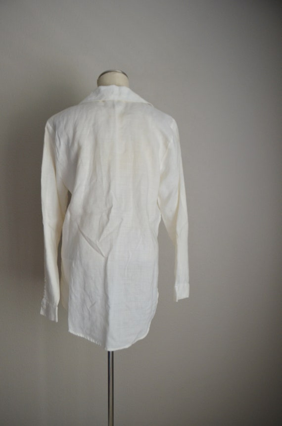 ivory linen tunic top / vintage 80s long ivory of… - image 7