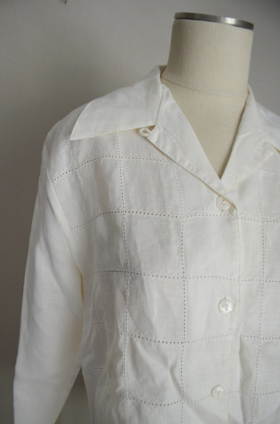 ivory linen tunic top / vintage 80s long ivory of… - image 5