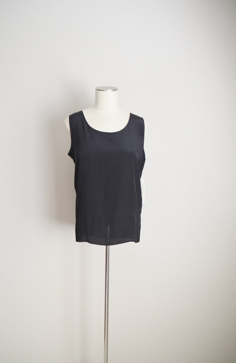 black silk tank  vintage 90s  black silk tank sleeveless blouse deadstock top womens small medium