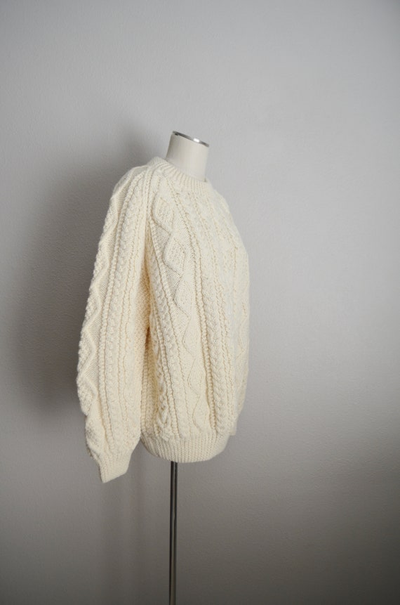 ivory wool aran irish sweater- large - image 6
