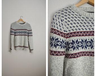 snowflake winter sweater - fair isle heather gray blye burgundy wool blend sweater - womens small / mens xsmall sweater