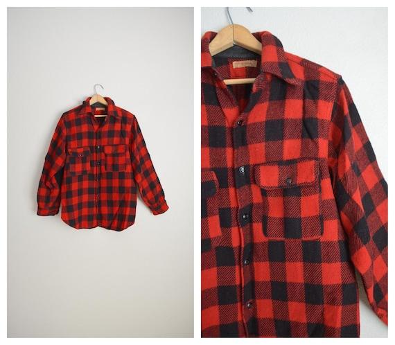1940s buffalo plaid wool shirt jac shirt -- large