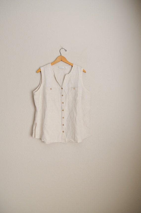 d271f8e3603 tan beige linen blend sleeveless summer tank shell blouse