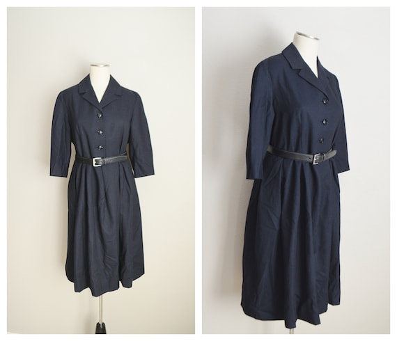 40s black wool dress - large