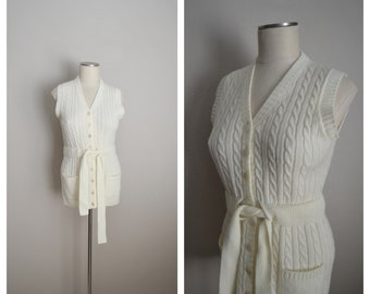 ivory knitvest/ vintage 70s 80s offwhite belted lightweight sweater vest - womens xsmall / small