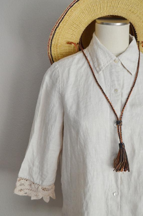 linen and lace blouse / vintage tan linen blouse/… - image 5