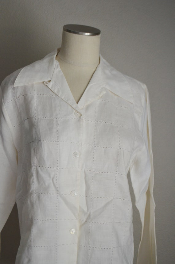 ivory linen tunic top / vintage 80s long ivory of… - image 4