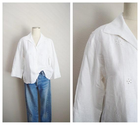 white linen eyelet blouse - medium