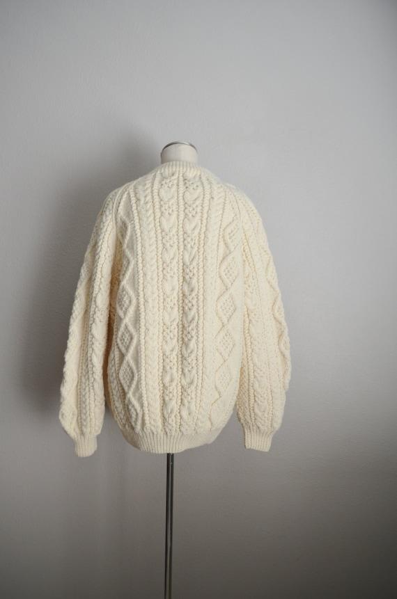 ivory wool aran irish sweater- large - image 7