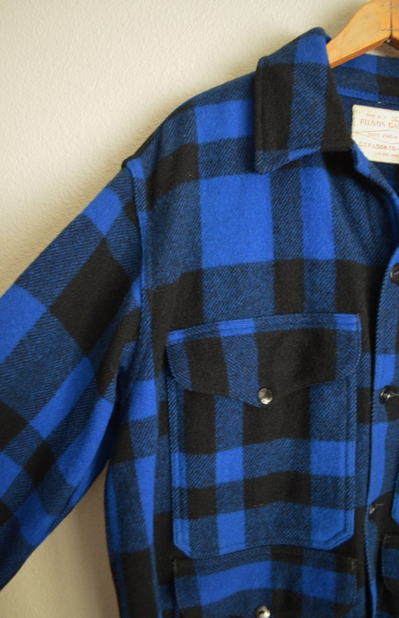 filson blue plaid wool mackinaw cruiser - large - image 3