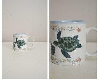vintage etched nautical see turtles sandollar otagiri mug - japan made otagiri mug - vintage 80s pottery style mug
