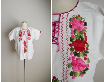 lightweight gauzy blouse / white pink floral embroidered blouse / ethnic guazy blouse - large womens lightweight top