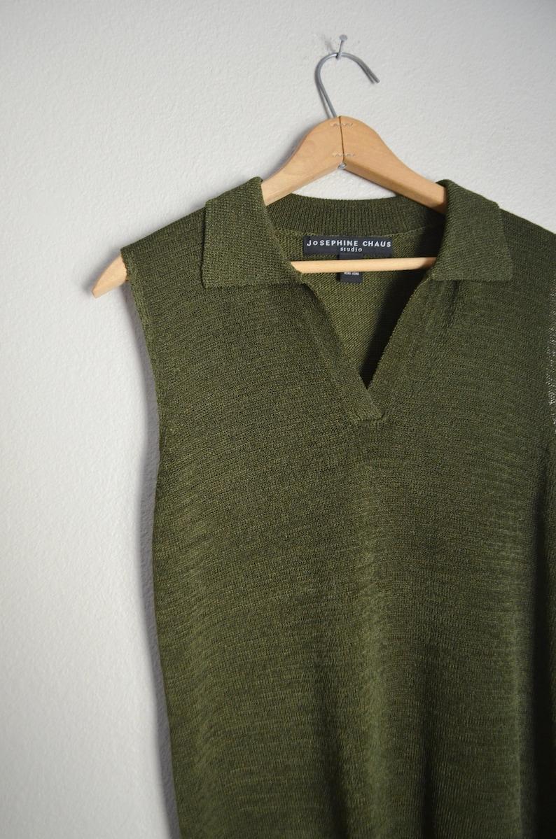 c0589c0bf Vintage 80s 90s olive green knit collared sleeveless minimal | Etsy