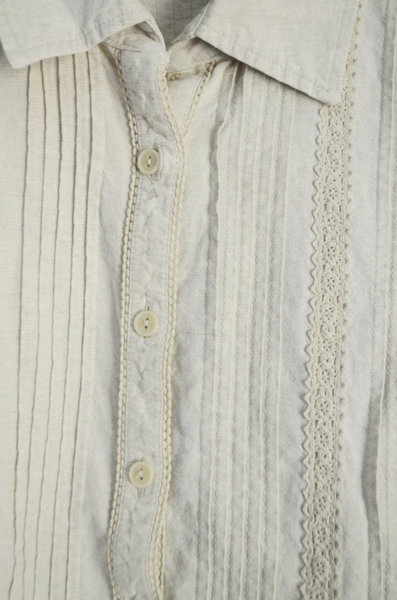 tan linen blouse / vintage 90s embroidered tan li… - image 5