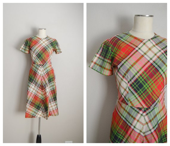 1940s plaid dress - small / medium