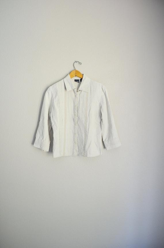 tan linen blouse / vintage 90s embroidered tan li… - image 2