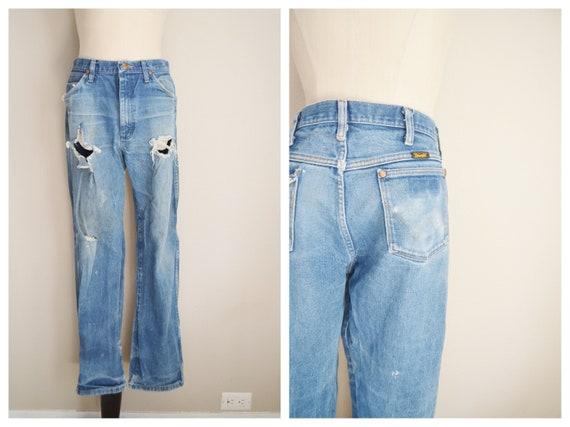 thrashed wrangler jeans - 32x30