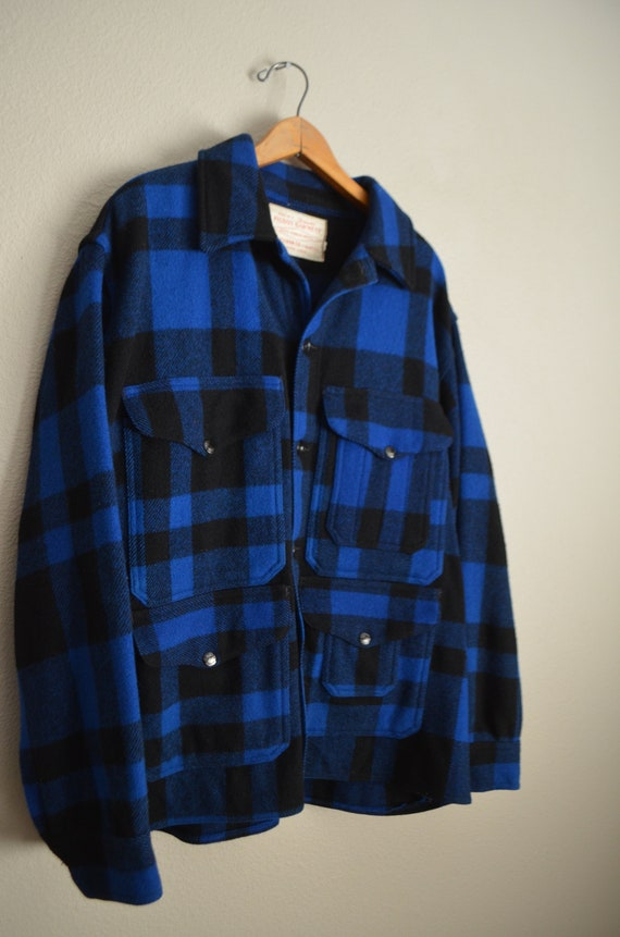 filson blue plaid wool mackinaw cruiser - large - image 4