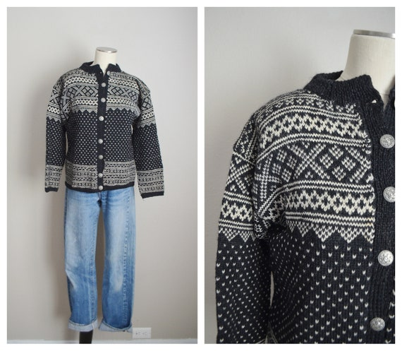 norwegian fair isle  wool cardigan - med