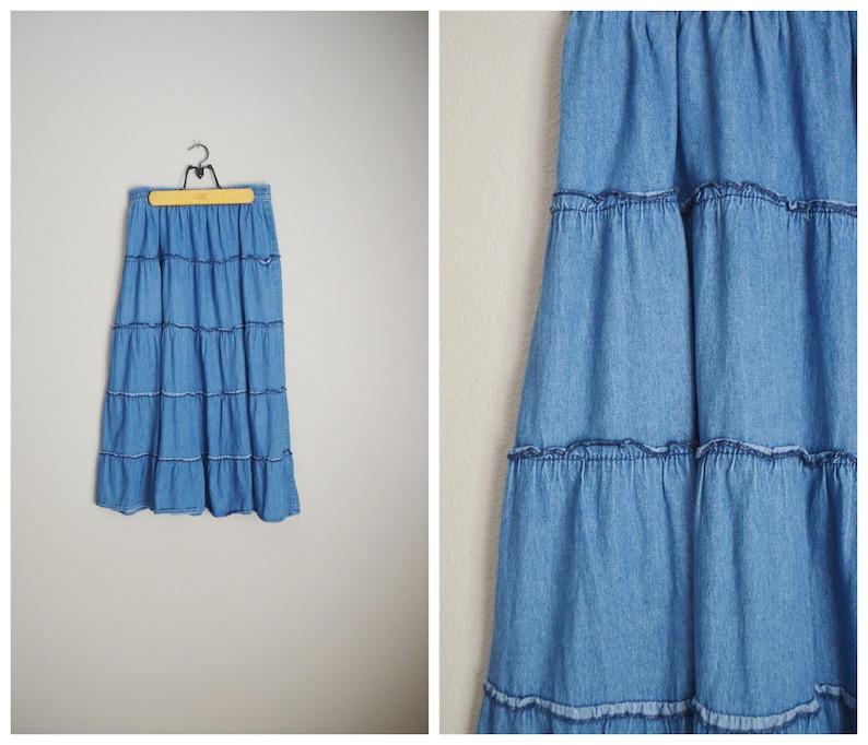 790619176 Denim tiered ruffle 80s 90s midi jean skirt elastic waist   Etsy