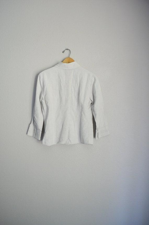 tan linen blouse / vintage 90s embroidered tan li… - image 7