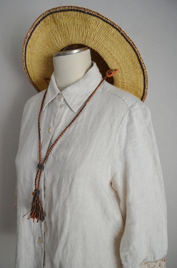 linen and lace blouse / vintage tan linen blouse/… - image 6