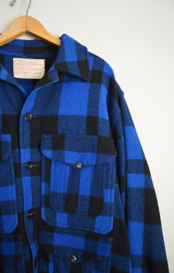 filson blue plaid wool mackinaw cruiser - large - image 6