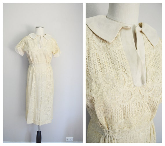 1940s ivory lace dress - small