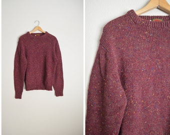 burgundy heather red wool blend pullover sweater / mens wool boston traders medium large sweater deadstock 80s sweater
