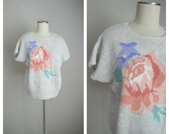 80s roses floral sweater blouse / koret rose summer sweater / stranger things blouse / linen sweater blouse / medium floral sweater top