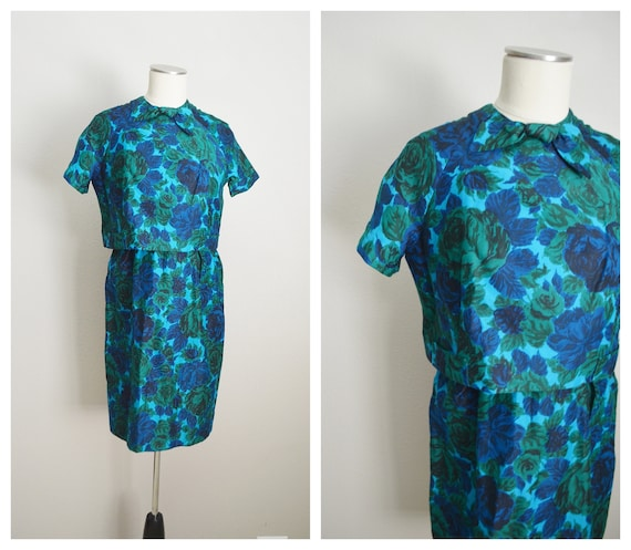 mid century blue green floral jacket dress set --