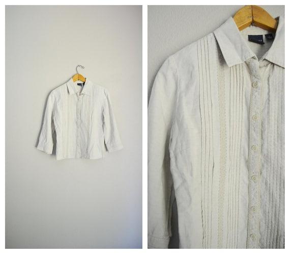 tan linen blouse / vintage 90s embroidered tan li… - image 1