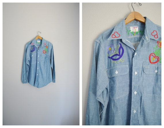 embroidered chambray selvedge shirt