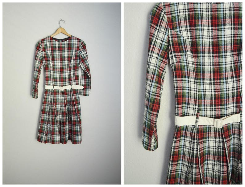 da7012afb1f vintage 50s 60s linen cotton textured red ivory plaid school