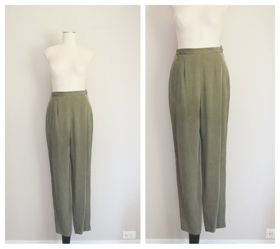 olive silk trousers - 26