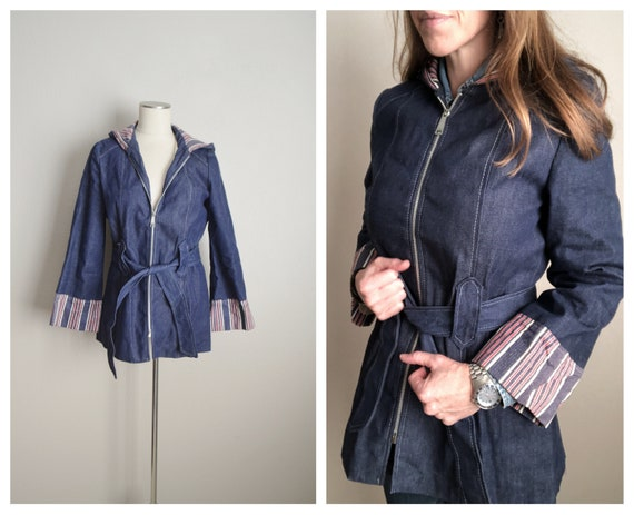 vintage 60s 70s blue denim hooded parka raincoat j